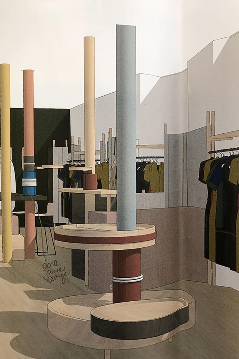 Croquis Aurélie Rimbert pour la boutique Sessùn Saints-Pères Paris